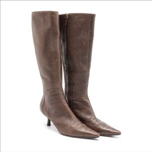 Chanel brown leather boots 38.5 EUC